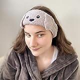 Banda de pelo de animales para niñas | Diadema elástica de maquillaje de felpa | Orejas disqueteras lindas (gris)