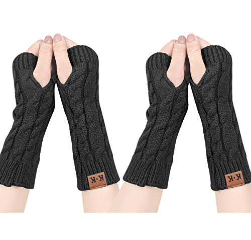 ECOMBOS Damen Fingerlose Handschuhe - Winter Armstulpen Handschuhe Damen Pulswärmer Strick Kurzer Gestrickte Halb Fingerlose Fäustlinge (Schwarz+Schwarz)
