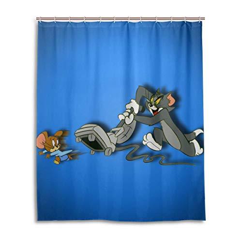gdingxiantengsubaihuoshang Tom & Jerry Katze Maus Bad Duschvorhang wasserdichtes Gewebe Duschvorhänge 60 x 72 Zoll