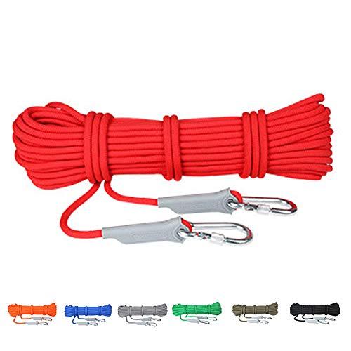 AMCER Einfach Kletterseil 6mmx40m rot Flucht Seil mit 2 karabiner, Tragegewicht 500KG für Klettern Bergsteigen Trekking Camping Abseilen
