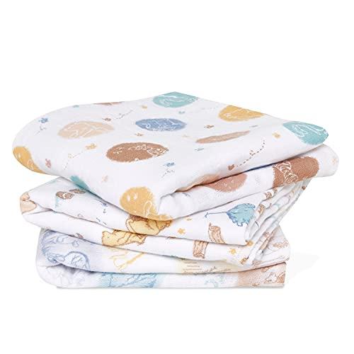 aden + anais Pack de 3 Musy-langes en Mousseline de 100% Coton Disney Baby Winnie in The Woods 70 x 70 cm