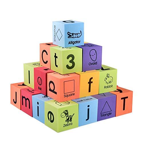 BOHS Schaum Englisch Lernblöcke - Alphabete, Zahlen, Formen, Sichtwörter - Ruhig, sicher und schwebend auf Wasser Badewanne Spielzeug, 30 Stück