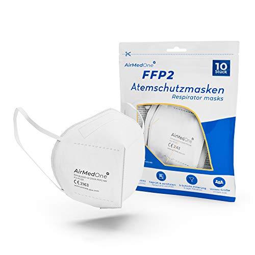 AirMedOne FFP2 Maske, Atemschutzmaske mit offiziellem Zertifikat CE2163 [10 Stück] Inkl. Hand Desinfektionsmittel für unterwegs, Mundschutz Maske 5-lagig 3D Gesichtsmaske faltbar