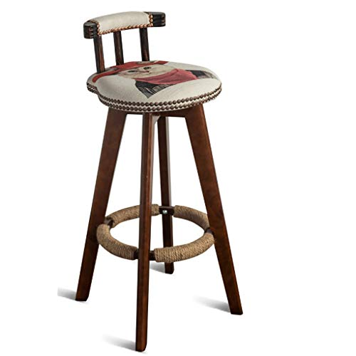 Barhocker Hausbar Stuhl Massivholz Retro Bar Stuhl Rotating Rezeption Stuhl Home High Hocker (Color : A, Size : 64CM)