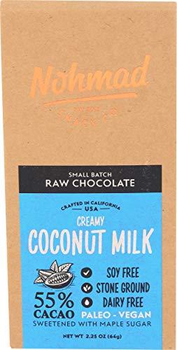 Nohmad Snack Co, Bar Chocolate Raw 55% Coconut Milk, 2.25 Ounce
