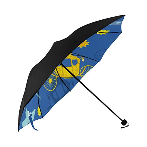Baby Stroller Cute Hand Drawn Compact Travel Umbrella Sun Parasol Anti Uv Foldable Umbrellas(underside Printing) As Best Present For Women Sun Uv Protection