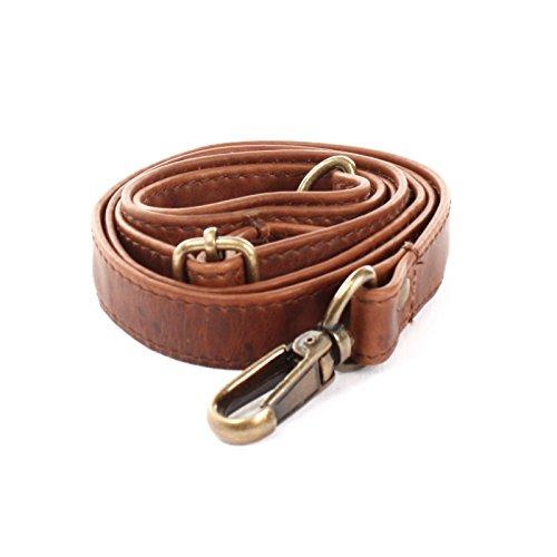 LECONI Trageriemen Leder Schulterriemen schmaler Schultergurt für Taschen Umhängegurt längenverstellbar 2,5x150cm braun LEC-R4