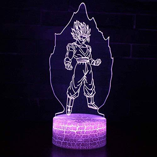 3d visualoptical illusie light nachtdraak bal kleuren verwisselbare 3D tafellamp met afstandsbediening kamerdecoratie licht Goku Vegeta figuur brandt nachtlampje Crack base 7colors My-86