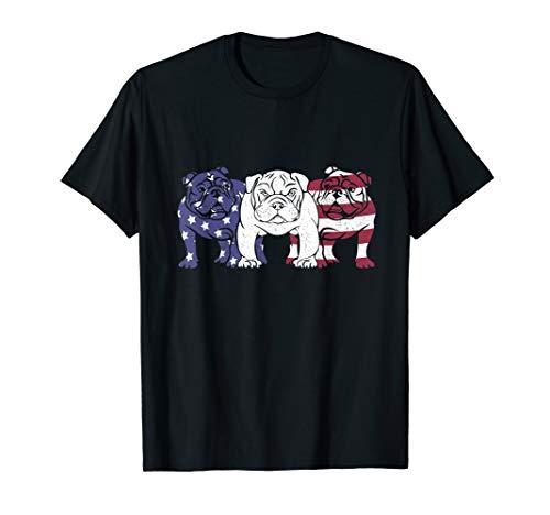 Unique English Bulldog Dog American Flag T-Shirts Gifts