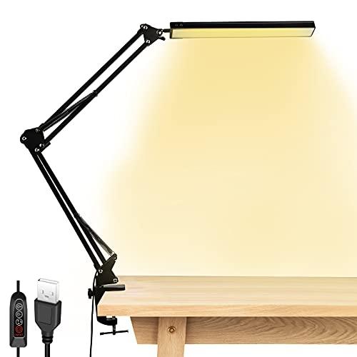 StillCool Lámpara de Escritorio LED Plegable, Lámpara de Mesa Abrazadera Brazo Oscilante Luz...