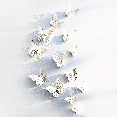 New 12pcs Silver 3D Butterfly Wall Stickers Art Decal Home Room Decorations Decor (Silver - 3)
