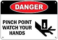 185グレートティンサインアルミニウム危険ピンチポイントあなたの手を見る危険サイン屋外&屋内サイン壁の装飾12x8インチ