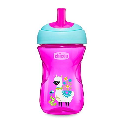 Chicco Advanced Cup Bicchiere Antigoccia per Bambini 266 ml, Tazza Biberon 12+ Mesi per Imparare a Bere, Bicchiere con Cannuccia, Beccuccio Ergonomico e Valvola Facili Sorsi, senza BPA, Rosa o Viola