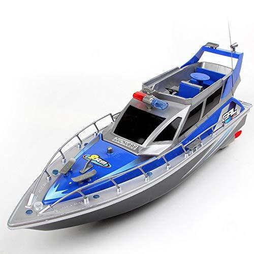 ZRSH RC ferngesteuertes Polizeiboot Küstenwache Schiff, RCFerngesteuertes Boot 2.4G 35KM / H Ready-to-Run, 430mm, inkl. Akku, Ladegerät, Zubehör,Blau