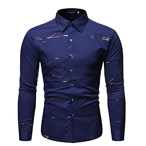 Katenyl Camisa para Hombre Impresión de Moda Tendencia Informal Diaria Desplazamiento Personalidad Básico Rayas Cuello Vuelto Camisa Tops L