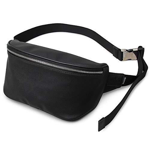 ボディバッグ ファニーパック ウエストポーチ メンズバッグ ウエストバッグ かばん ミニバッグ 斜めがけ カジュアル レザー調 キレイめ ユニセックス(ブラック-B)