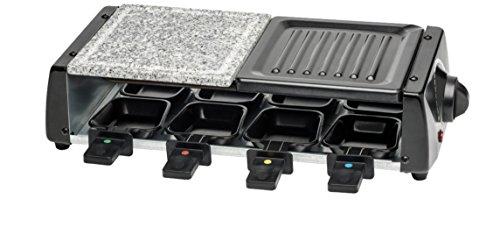 MEDION (MD 15601) Raclette Grill (1200 Watt, Antihaftbeschichtung, 8 Pfännchen, Granitplatte, bis 260°C) schwarz