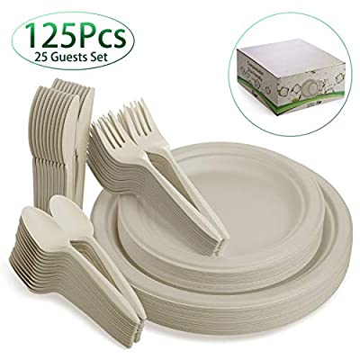 Fuyit 125Pcs Disposable Dinnerware Set, Compostable Sugarcane Cutlery Eco-Friendly Tableware - Microwavable Biodegradable Paper Plates, Forks, Knives and Spoons Combo for Party, Camping, Picnic