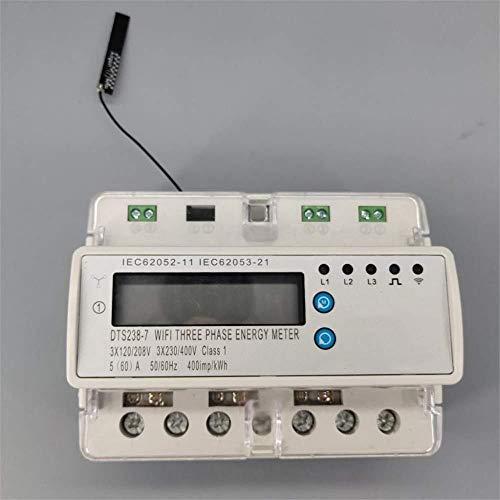 Medidor de electricidad de disyuntor en miniaturaWiFiWiFi control remoto wifi inteligente trifásico 60A Kwh con protección de corriente de bajo voltaje Rs485 E2303E-2
