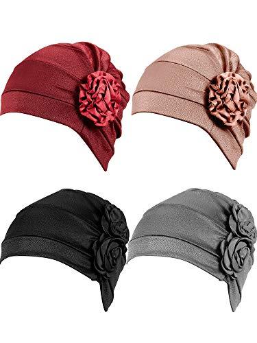 WILLBOND 4 Stücke Turban Blume Kopfwickel Mütze Schal Kappe Haarausfall Hut für Männer und Frauen (Weinrot, Khaki, Schwarz, Grau)