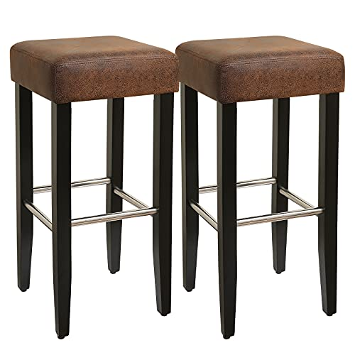 Set 2 tabourets de bar assise PU