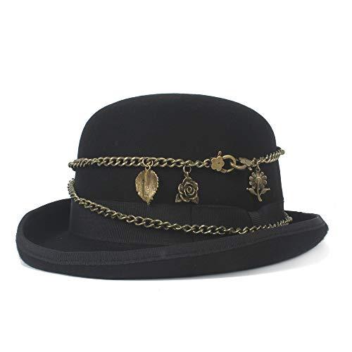 JIANGJINLAN 100{2d8a6ed3a54affd03aa63712a849dd7b1e61eaede86a8f96e733e509a12adb9a} Lana Hombres de Las Mujeres Negro Bowler Hat de Metal Retro Steampunk Elegante Cúpula triturada Hat Hat (Color : Black, Size : 55cm)