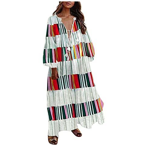YANFANG Vestido Bohemia,Vestido Largo Informal De Manga Larga con Estampado Floral Playa Bohemia Verano para Mujer,Vestidos Mujer Volantes Casual Cruzado Columpio Plisado Mini,Rojo,XXL