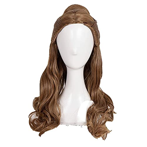 Beauty and the Beast Princess Belle Cosplay Wig Brown Long Wavy Heat Resistant Synthetic Hair Wigs + Wig Cap