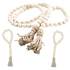 HANDMADE METICULOUSLY - Fits beautifully in farmhouse style decor, boho décor, shabby chic decor, as well as traditional home decor. EASY TO USE - The prayer beads look great draped around plant pots, candle holders, mason jars, hung on a wall, on do...