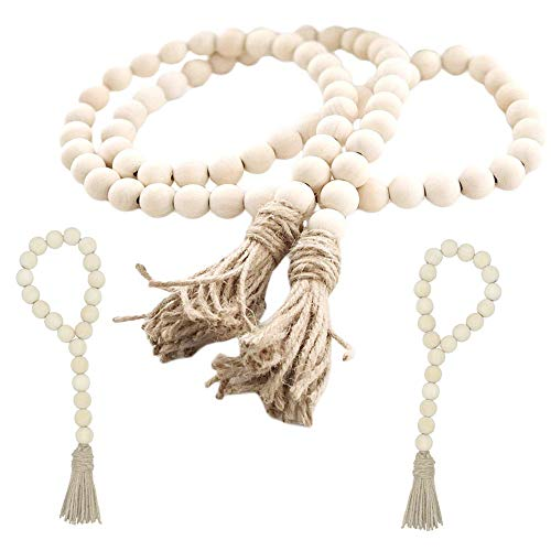Wood Bead Garland Set,3 pcs Farmhouse Rustic Country Beads with Tassles Wall Hanging Décor