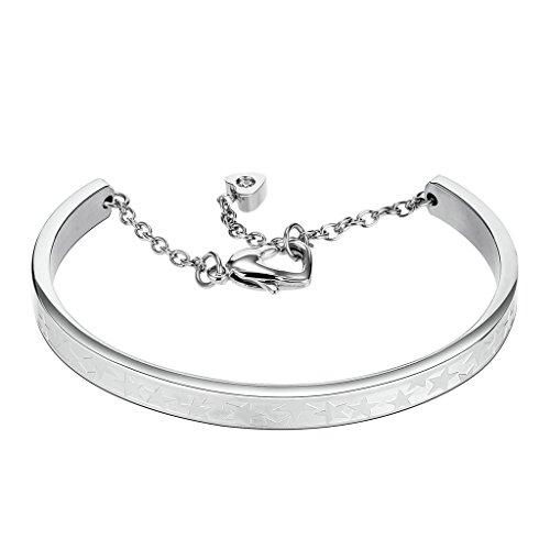 AMDXD Schmuck Edelstahl Damen Armband Zirkonia Inlaid Herz Stern Silber Kleine 19x0.4CM