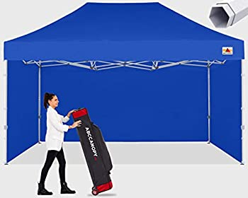 ABCCANOPY Premium Canopy 10x15 Pop Up Commercial Canopy Tent with Side Walls Instant Shade Bonus Upgrade Roller Bag 4 Weight Bags Stakes and Ropes Royal Blue