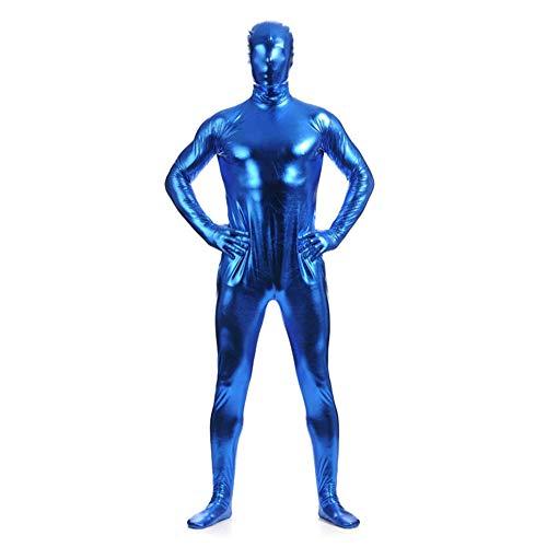 IWEMEK Herren Leder Jumpsuit Wetlook Kunstleder Full Bodysuit Catsuit Glänzed PVC Overall Bodys Zipper Clubwear Männerbody Zentai Kostüm Karneval Erwachsene Ganzkörperanzug Nachtwäsche Blau 3XL