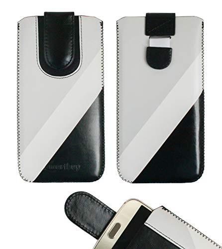 Emartbuy Nero/Grigio Cuoio PU Custodia Pouch Copertina Sleeve (Misura 5XL) con Meccanismo Linguetta Compatibile con Smartphone Elencati di Seguito