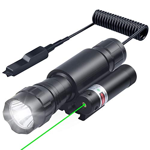 Green Laser positioner Green Dot 532nm Scope with 20mm Picatinny Mount with 600 lumen flashlight