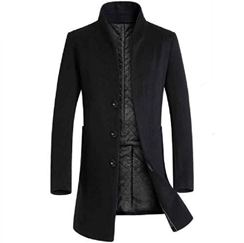 Aooword-men clothes Herren wickeln sie outwear longjacket mao-kragen trenchcoat pea coat X-Large Schwarz