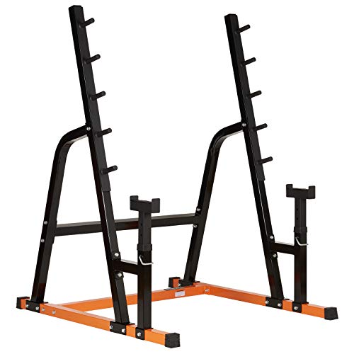 Mirafit Heavy Duty Weight Lifting Rack & Bench Press Spotter - Orange & Black