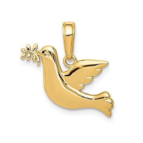 14 Karat Gelbgold Diamantschliff Taube Anhänger für Damen