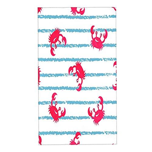 COFEIYISI Toallas de Manos Patrón Rayas Azules Lindas Acuarela Cangrejos Vida Silvestre Bebé Rojo Niños Náutico Mar Diseño Brillante Toalla de baño pequeña Esencial para Viajar a casa 40x70cm