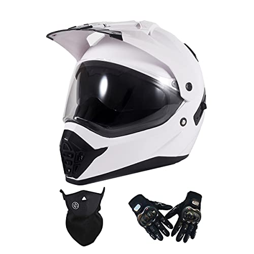 VOMI Moto Casco Motocicleta Hombres con Guantes Máscara, Visera Doble, Casco de Motocross Casco Enduro Integral Adulto Casco Cross MTB Descenso Bici Off-Road Racing Quad Scooter,Blanco,M