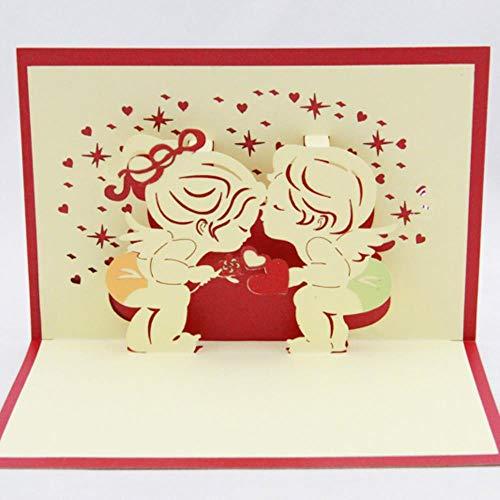 Little Angle Kissing Liebeskarte / 3D-Karte Pop-Up-Karte/Geschenkkarte, 10 Stück, rote Abdeckung