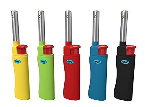 MK Lighter 10 PCS Assorted Colors Candle Lighters, Windproof Flame, Ideal as Lighters for Candle, BBQ Lighter, Camping Lighter, Fireplace Lighter,...