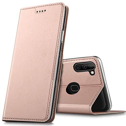 Verco Handyhülle für Samsung Galaxy M11, Samsung A11 Premium Handy Flip Cover für Samsung M11 Hülle [integr. Magnet] Book Hülle PU Leder Tasche, Rosegold
