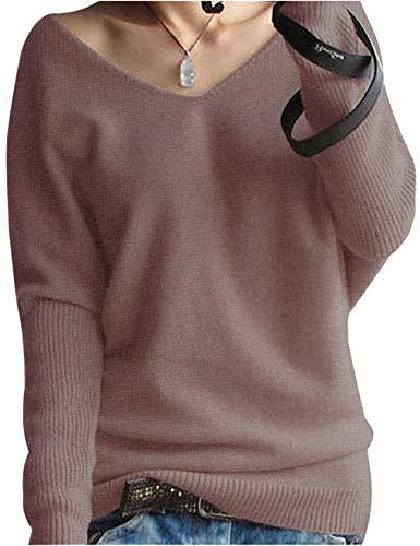 LinyXin Cashmere Damen Winter Kaschmir übergroße Pullover lose V-Neck Fledermausärmel Warm Gestrickter Oversize Pullover aus Wolle (M / 46-54, Braun)