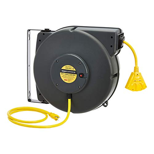 AmazonCommercial Extension Cord Reel Heavy Duty Retractable Long 12AWG x 65' Feet Industrial Grade 3C/SJT Cable with Triple Tap Connector and Swivel Bracket Power Rating 15A 125VAC 1875W 60Hz