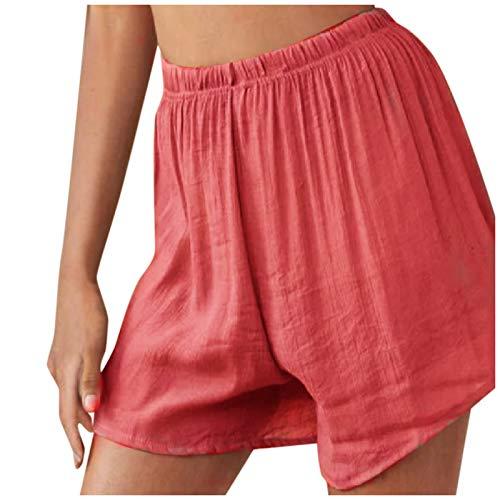 Pantalones Verano Mujer Lino de Color Puro Elástica Pantalones Verano Mujer Anchos Loose Shorts Casuales de Playa Pantalones Verano Mujer Short Casual para Yoga