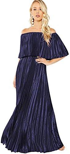 Milumia Women s Casual Off The Shoulder Layered Ruffle Nurse Maternity Long Maxi Dress Blue product image