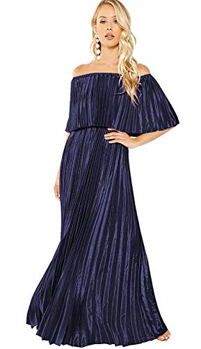 Milumia Women's Casual Off The Shoulder Layered Ruffle Nurse Maternity Long Maxi Dress Blue X-Small