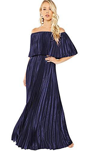 Milumia Women's Casual Off The Shoulder Layered Ruffle Nurse Maternity Long Maxi Dress Blue Small