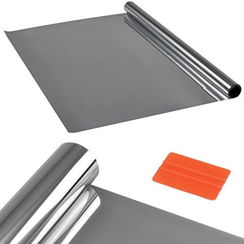casa.pro Sichtschutzfolie Silber verspiegelt selbstklebend [1m x 2m] inkl. Rakel Fenster Spiegel